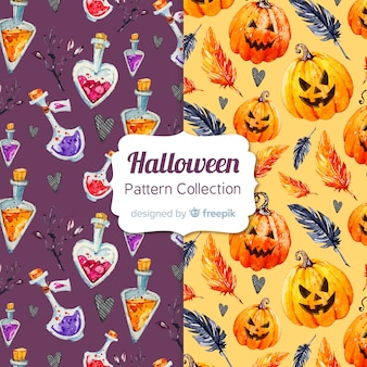 Lovely watercolor halloween pattern collection