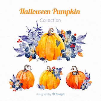 Lovely watercolor halloween pumpkin collection