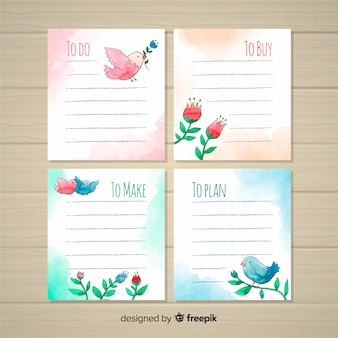 Lovely watercolor to do list collection
