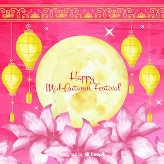 Lovely watercolor mid autumn festival background