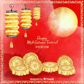 Lovely watercolor mid autumn festival composition