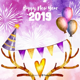 Lovely watercolor new year 2019 composition