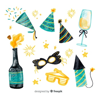 Lovely watercolor new year party element collection