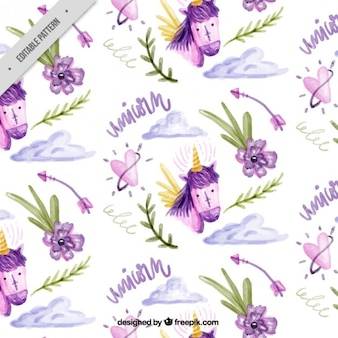 Lovely watercolor pattern of unicorn