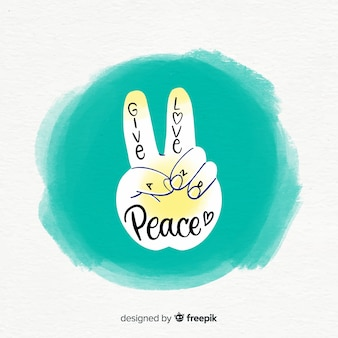 Lovely watercolor peace fingers composition