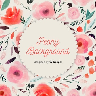 Lovely watercolor peony flower background