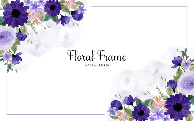 Lovely watercolor purple floral frame with abstract stain background