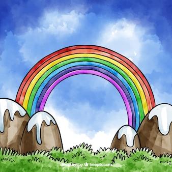 Bella composizione arcobaleno acquerello