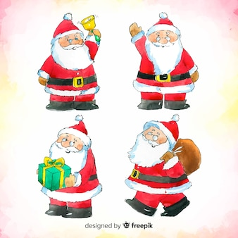 Lovely watercolor santa claus character collection