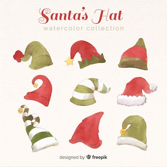 Lovely watercolor santa's hat collection
