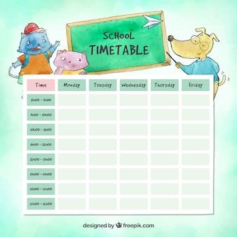 사랑스러운 수채화 학교 시간표 템플릿