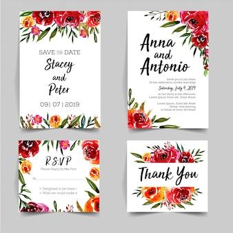 Прекрасный набор акварелей, украшенный приглашением на свадьбу