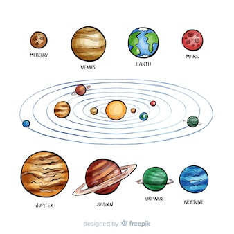 Lovely watercolor solar system composition