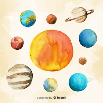Lovely watercolor solar system scheme