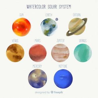 Lovely watercolor solar system
