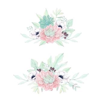 아름다운 수채화 즙이 많은 꽃 작곡