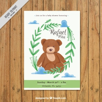 Lovely watercolor teddy baby shower invitation