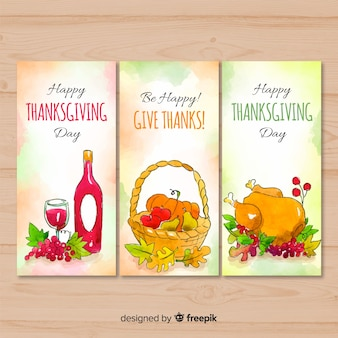 Lovely watercolor thanksgiving card collection