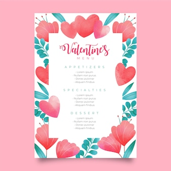 Lovely watercolor valentine's day menu template