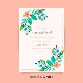 꽃 스타일로 사랑스러운 수채화 웨딩 카드 무료 벡터