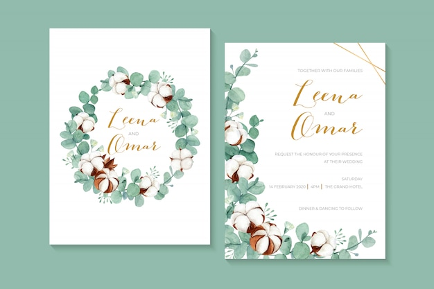 Lovely watercolor wedding invitation with cotton flowers and eucalyptus leaves