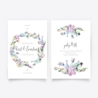 Lovely watercolor wedding invitation