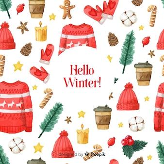 Lovely watercolor winter pattern