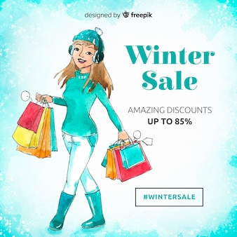 Lovely watercolor winter sale composition