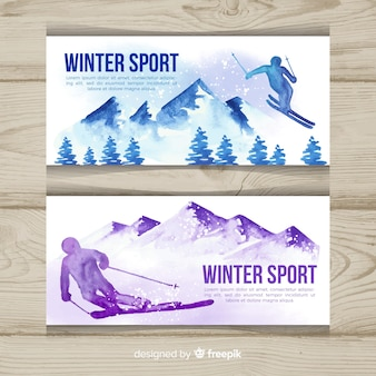 Lovely watercolor winter sport banners