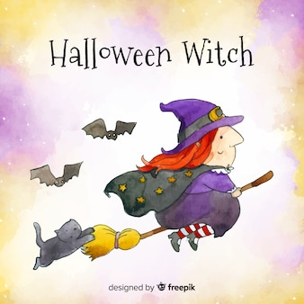 Lovely watercolor witch character