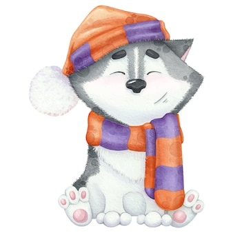 Lovely watercolour husky in scarf and hat.