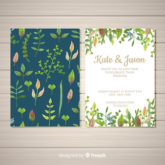 Lovely wedding card template with watercolor leaves