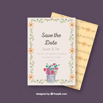 Прекрасная свадебная открытка с цветами акварели