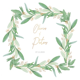 Lovely Wedding Frame with Olive Leaves
