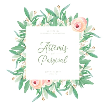 Lovely wedding frame with watercolor leaves