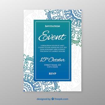 カラフルな曼荼羅と素敵な結婚式の招待状のテンプレート