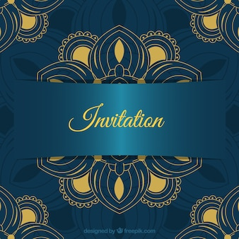 Lovely wedding invitation template with colorful mandala