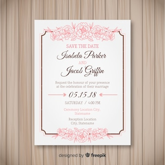 Lovely wedding invitation template with peony flowers
