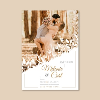 Lovely wedding invitation template with photo