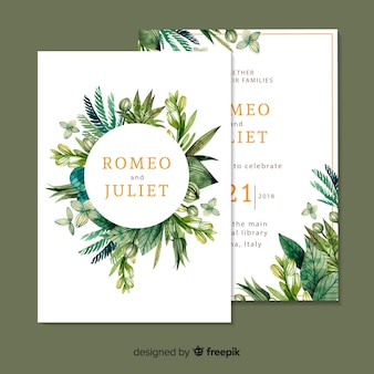 Lovely wedding invitation template with watercolor leaves