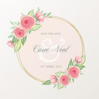 Красивое свадебное приглашение с цветочной акварельной рамкой