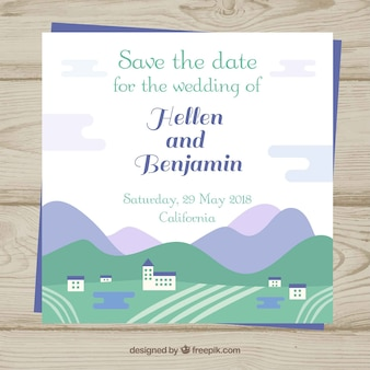 Lovely wedding invitation with flat landscape