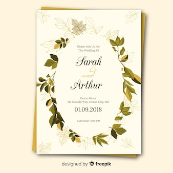 Lovely wedding invitation with hand drawn leaves