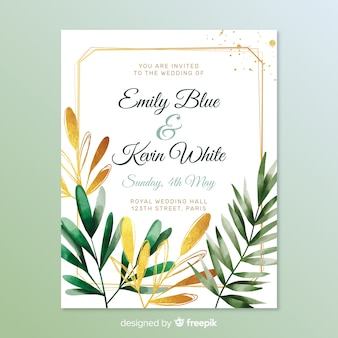 Lovely wedding invitation with leaves