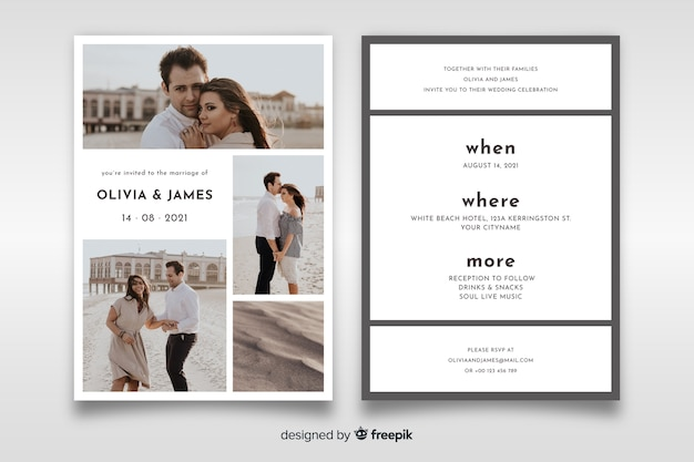 Lovely wedding invitation with photo template