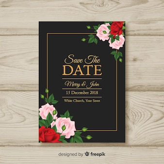 Lovely wedding invitation with realistic flowers