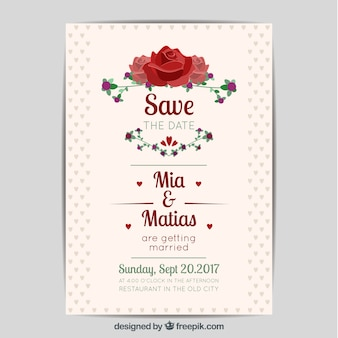 Lovely wedding invitation with roses