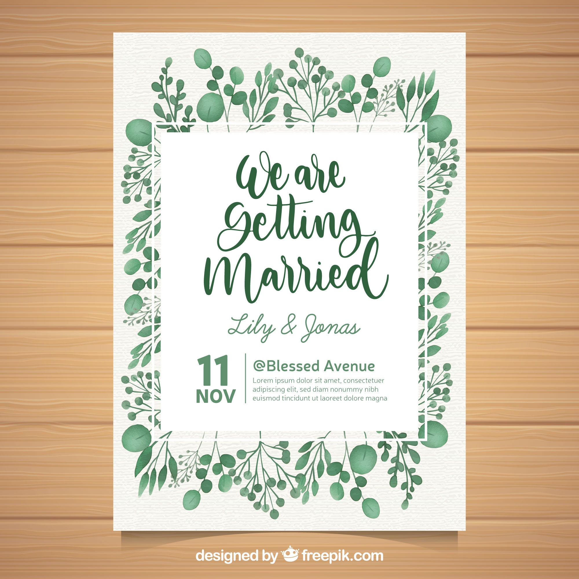 New wedding vectors 31700 files in eps format lovely wedding invitation with watercolor leaves stopboris Gallery