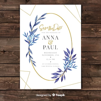 Lovely wedding invitation with watercolor leaves