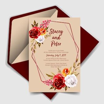 Прекрасные свадебные приглашения акварель роза